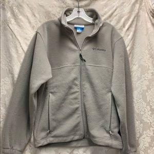 Columbia Small Tan Fleece Jacket Unisex EUC